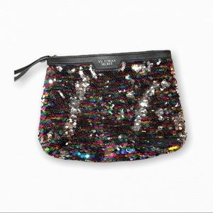 Victorias Secret small Multicolor Sequin Clutch going out make up bag